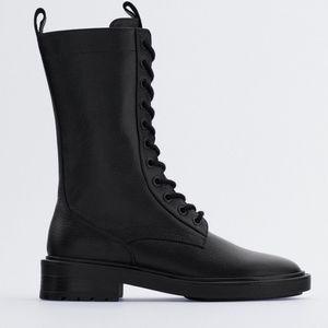 Zara Lace-Up Flat Leather ankle boots